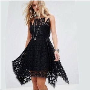 FREE PEOPLE Black LACE DRESS formal S crochet prom